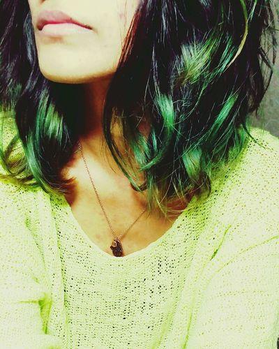 Green hair Summer Green Hair Don't Care Dip Dye  Waves Neon Shirt Neon Portrait Beauty Mark Pretty Colours Pleasant Calm Colourful Happy Short Hair Hasma Bff Pendant Chain EyeEm Gallery All Day Everyday  Livin The Lovin Lovin The Livin LOL