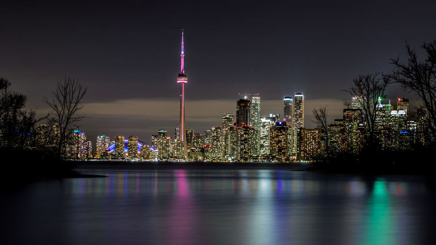 Illuminated Cn Tower In City At Night