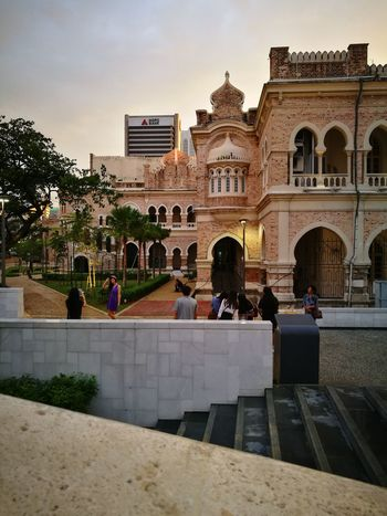 The glimpse of twilight enhances the beauty of this historic architecture. Architecture Built Structure Building Exterior Real People Travel Destinations Outdoors City Day