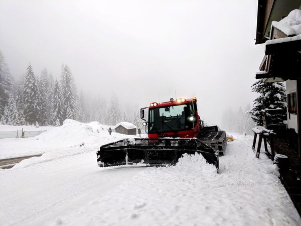 Your ride has arrived Fog Morning Getting Ready No People Preparation  Snowcat Snow Cold Temperature Spraying Winter Road Extreme Weather Land Vehicle Flood