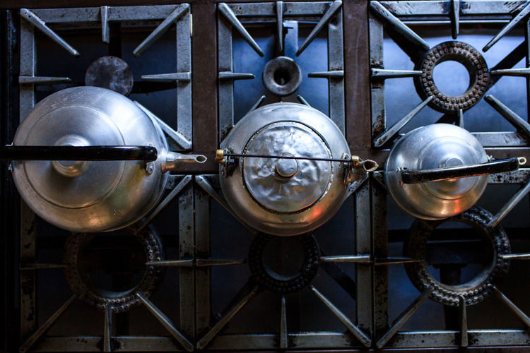 Directly Above Shot Of Kettles On Stove