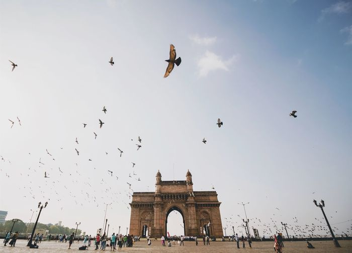 People at gateway to india with birds flying in sky