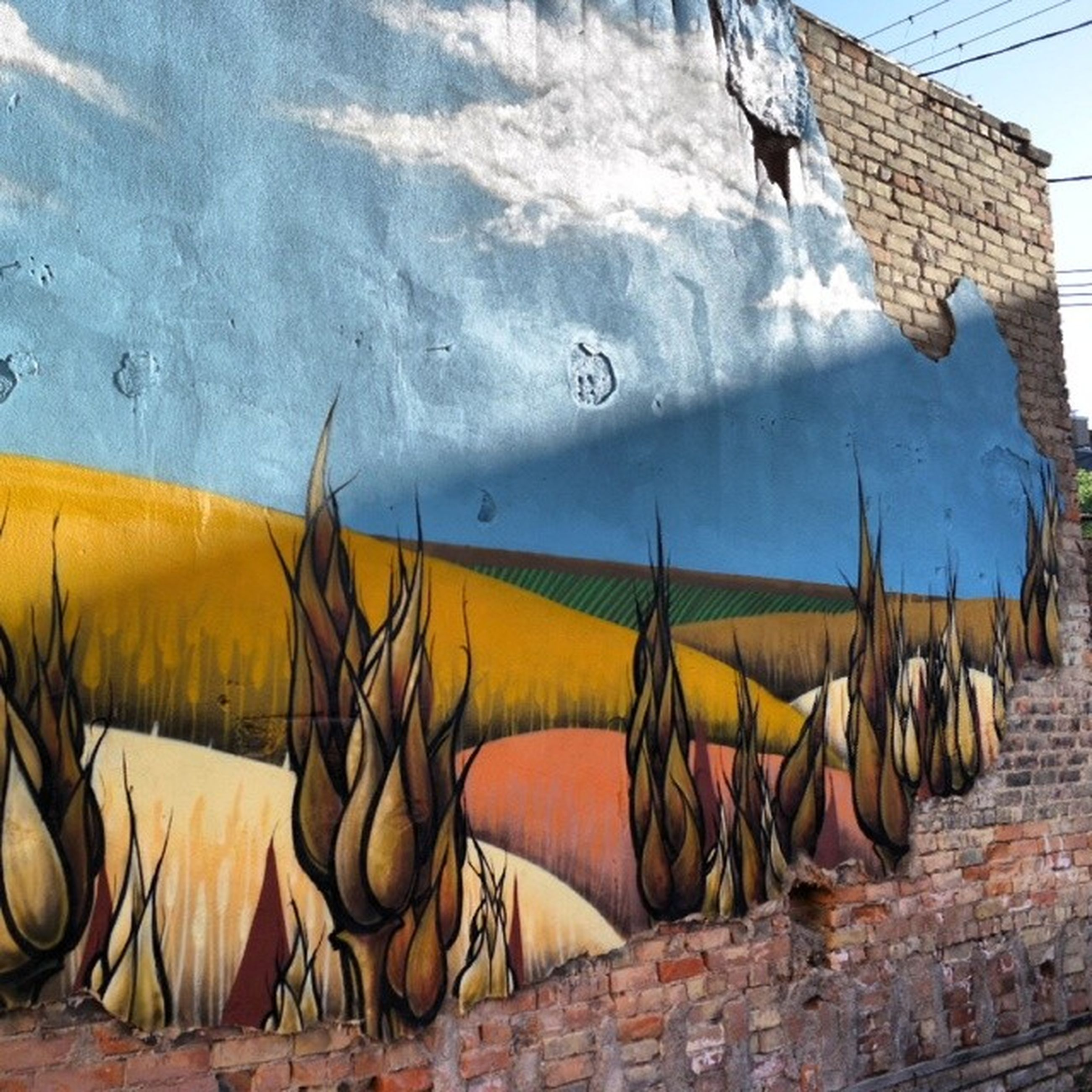 graffiti, multi colored, building exterior, built structure, architecture, art and craft, art, creativity, day, no people, wall - building feature, outdoors, sunlight, in a row, abandoned, field, street art, clothing, yellow, abundance