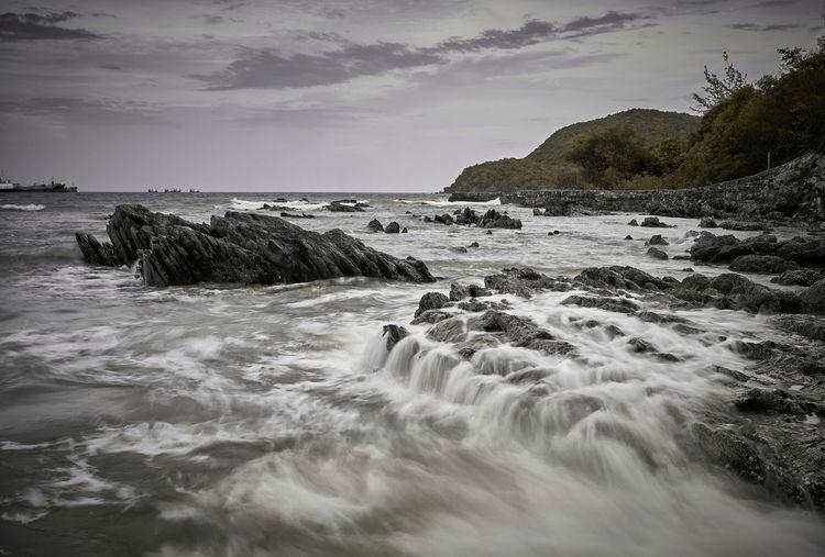 when it rains Water Sea Wave Beach Sand Rock - Object Beauty Sky Landscape Seascape Tide Horizon Over Water Rocky Coastline Rushing