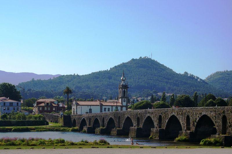Bridge Built Structure Church Clear Sky Landscape Mountain River