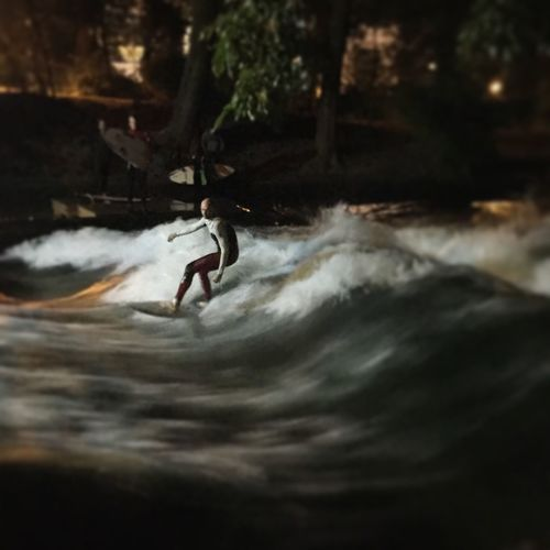 Night Surfing In Munich. Water Nature Adventure Water Surface Outdoors Motion First Eyeem Photo