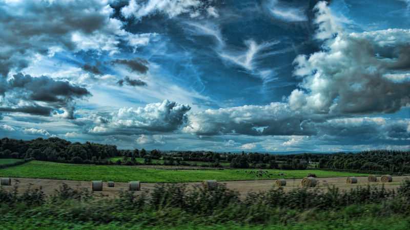Nature Agriculture Beauty In Nature Blue Cloud - Sky Cloudy Cultivated Land Day Dramatic Sky Farm Field Green Color Growth Landscape Majestic Nature Non-urban Scene Outdoors Plant Remote Rural Scene Scenics Sky Solitude Tranquil Scene Tranquility