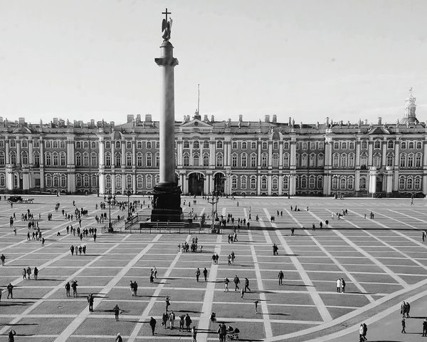 Travel Destinations Day Outdoors Large Group Of People Architecture Politics And Government City People Hermitage Museum St. Petersburg St. Petersburg, Russia Russia Hermitage, St. Petersburg Alexander Column Palace Square Imperial Palace Winter Palace Black And White Photography Blackandwhite Photography View Through Window