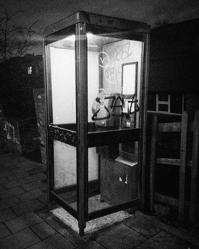 Light in Darkness (Day 56 of 366) Street Phonebox Night Light Darkness Blackandwhite Nickblak