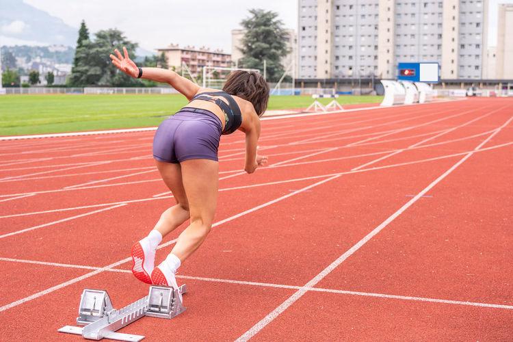 Full length of woman running