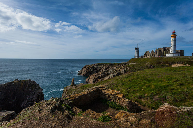 Bretagne Brittany France Rock Formation Saint-Mathieu Lighthouse Architecture Beauty In Nature Building Exterior Grass Guidance Landscape Lighthouse Marine Nautical Phare Rock - Object Scenics Sea Tranquility Travel Destinations Water