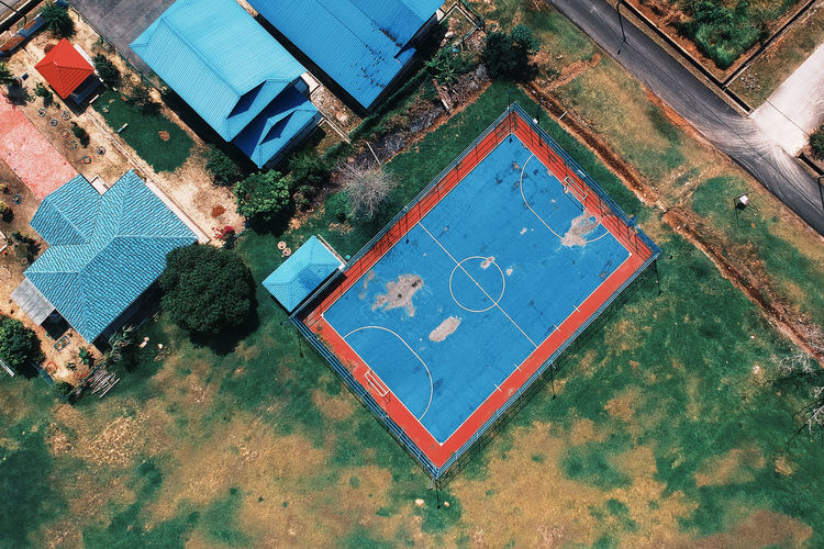 Architecture Art And Craft Blue Building Exterior Built Structure Chalk Drawing Communication Day Flooring Footpath High Angle View Nature No People Outdoors Plant Reflection Shape Square Shape Swimming Pool Water
