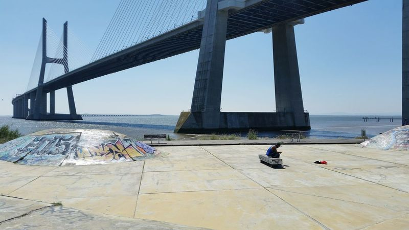 City Bridge - Man Made Structure Outdoors Beach Sky Day Architecture Men People Adult Adults Only Colorful Grafitti City Sports Sport In The City Taking Photos Skate Park Colors Skate Life Ponte Vasco Da Gama Lisboa