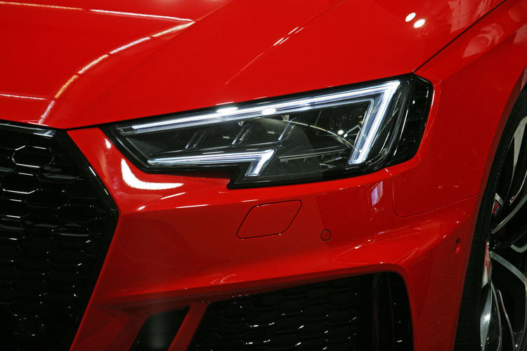 Audi RS4,front side,Zagreb Auto Show 2018,Croatia,Europe Audi Audi Rs4 Croatia Europe Zagreb Auto Show 2018. Beauty Brand New Car Colours Design Exhibition Expo Fair Front Side Glamourous Light Metal Plastic Shiny Technology Vehicle