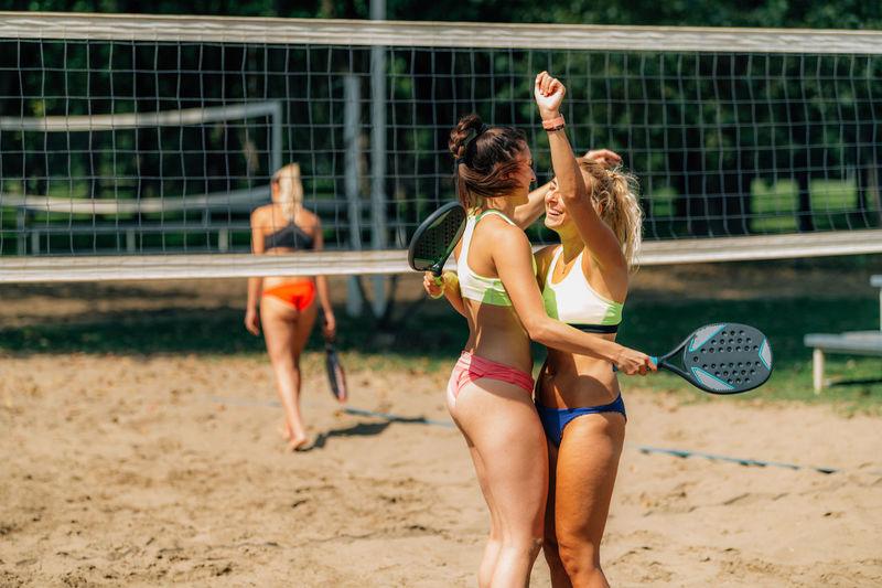 Beach tennis match greeting