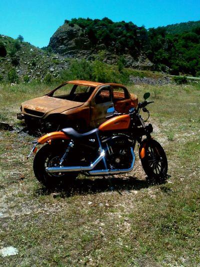 Bike Motorcycle Burned Car Orange Color Landscape No People Nature Bikelove Contrast Harley Davidson New Vs Old