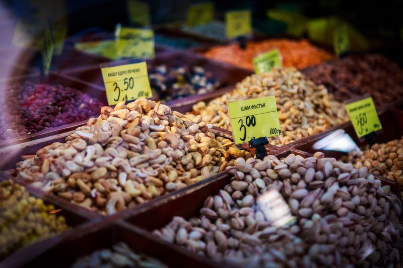 Food And Drink Price Tag Food For Sale Abundance Nut - Food Variation Market Stall Text Healthy Eating Large Group Of Objects Market Freshness Retail  Choice Outdoors No People Walnut Selective Focus Day