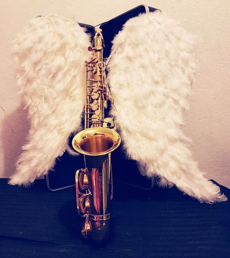 Arts Culture And Entertainment Musical Instrument Indoors  No People Saxophone Wind Instrument Day Jazz Music Angel Wings Saxofone🎷