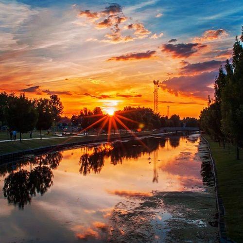 Yesterday's sunset with my Nikon Sunset Instadaily Instasize Ic_skies Mik Instamagyarorszag Backlight Lake Water