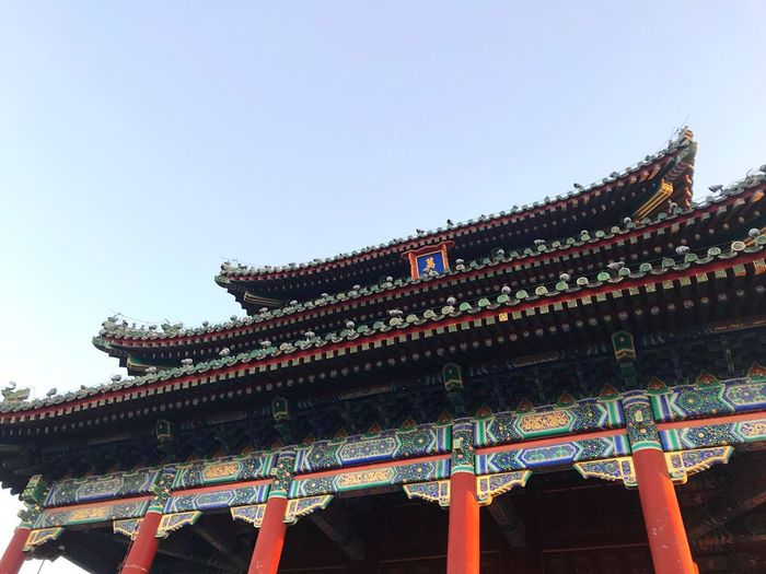 景山公园 景山公园 Beijing Sky Built Structure Architecture Low Angle View Building Exterior Place Of Worship Clear Sky