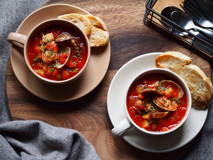 Manhattan Clam Chowder Bowl Close-up Focus On Foreground Food Food And Drink Healthy Eating High Angle View On The Table Soup Still Life Table Vegetable Wellbeing Wood - Material