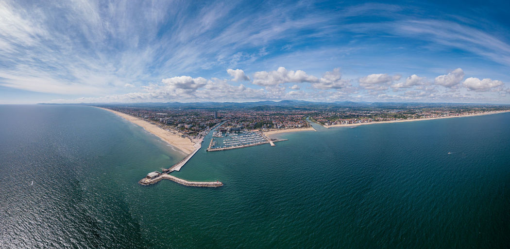 Panoramic view of rimini, its sea, its beaches and its port on the romagna riviera in post-pandemic