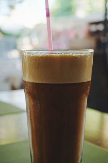 greek frappe Drink Drinking Glass Coffee - Drink Frothy Drink Food And Drink Refreshment Cold Temperature Alcohol Cold Drink No People Close-up Freshness Indoors  Day Filling Frappe Frappes Coffee Greek Coffee  Drinks Cold Drinks VisitGreece