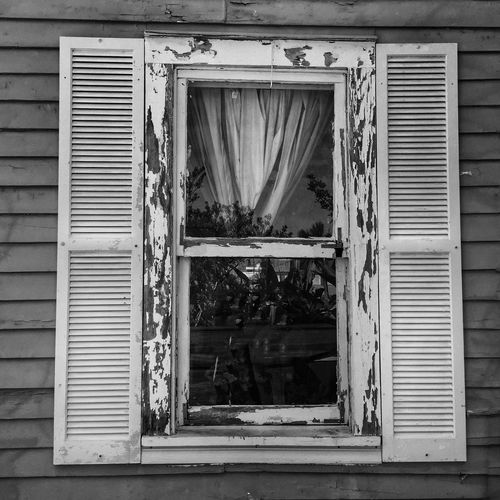 Weathered window Window Shutter Building Exterior Weathered Weathered Wood Weathered Wall Pealing Paint Black And White Photography