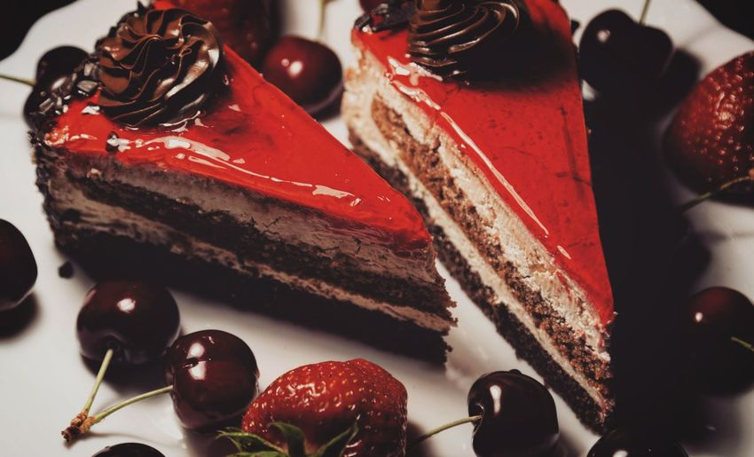 Cherries Strawberries Fruit Dessert Yummy Delicious Taking Photos Feeling Creative EyeEm Best Shots Freshness Fruit Red Close-up Sweet Food Food And Drink Cake Slice Of Cake