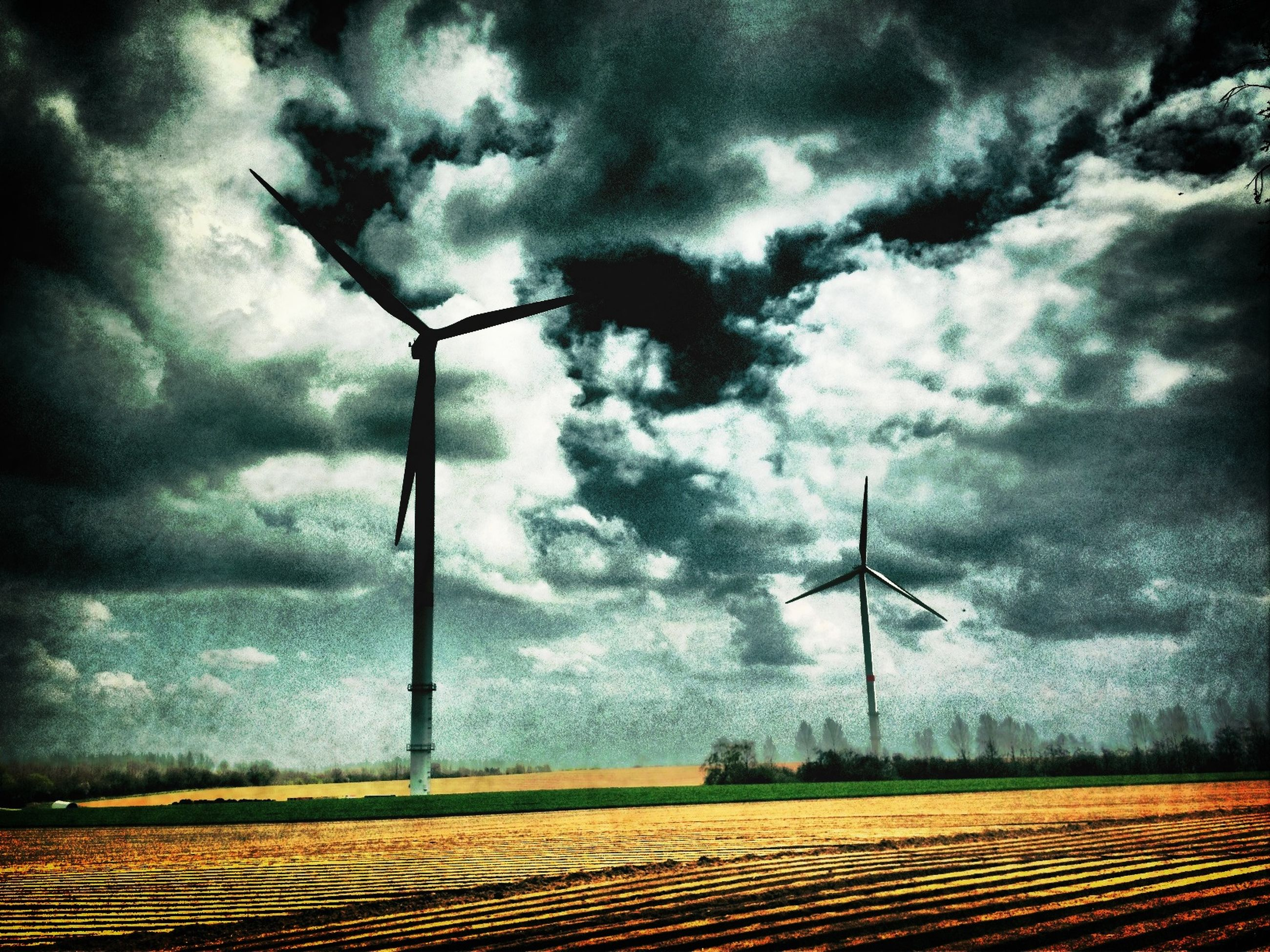 sky, cloud - sky, cloudy, field, landscape, weather, tranquility, overcast, rural scene, wind power, tranquil scene, alternative energy, wind turbine, scenics, fuel and power generation, environmental conservation, windmill, nature, cloud, dramatic sky
