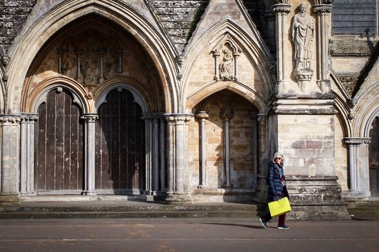 Salisbury Cathedral Full Length One Person History Architecture Arch Religion Adult Day Adults Only One Woman Only Outdoors Real People People Women Only Women City Yellow Paint The Town Yellow