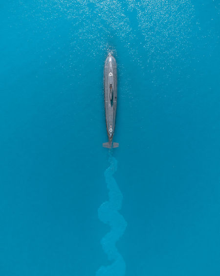 Aerial view of submarine in sea