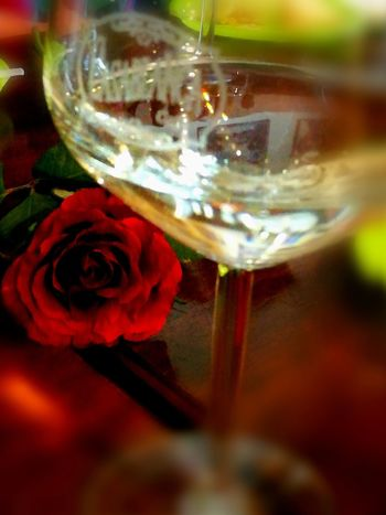 Flower Red Close-up Indoors  No People Fragility Glass Reflections Glass Of Wine Table A Night Out