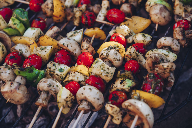 Skewers with vegetable and meat on a grill Food And Drink Food Freshness No People Still Life Barbecue Close-up Full Frame Vegetable Wellbeing Healthy Eating Skewer Ready-to-eat Backgrounds Large Group Of Objects Abundance High Angle View Grilled Meat Multi Colored Snack Shashlik Meal Grilling Kebab Delicious Cuisine Dinner Mushroom Marinated Foodphotography Paprika Red Color Green Color Diet Barbeque Spit Ingredient Portion Chicken Meat