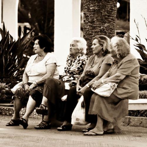 Elderly Ladies Gossiping Judging People Nerja Old Ladies People Watching Sepia Sitting On Bench SPAIN