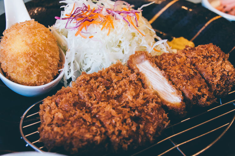Close-Up Of Tonkatsu In Plate