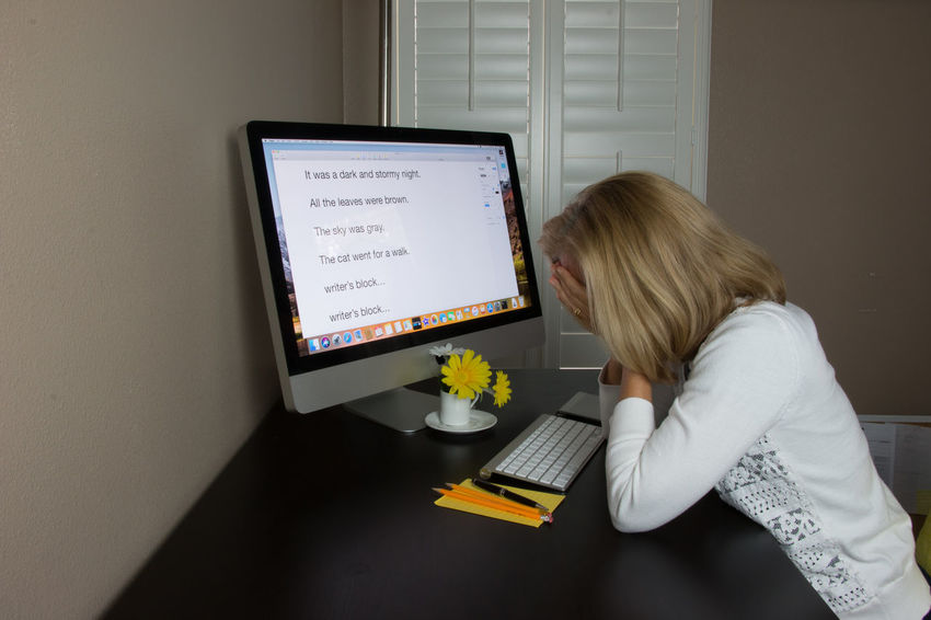 Writer's block Office Blond Hair Computer Computer Keyboard Computer Monitor Connection Day Desktop Pc Indoors  Keyboard Lifestyles One Person Real People Sitting Table Technology Young Adult Young Women