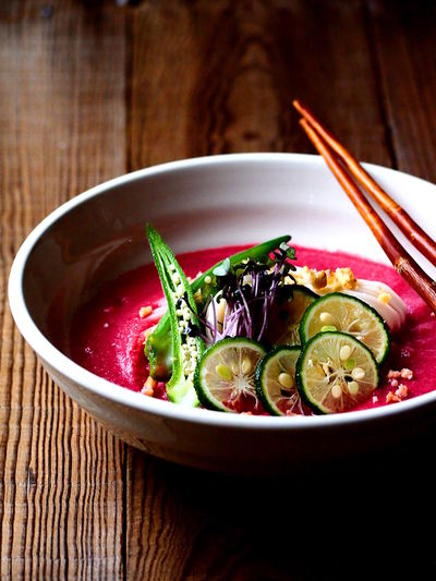 Japanese UDON bowl with beet vichyssoise Japanese Food Lunch Bowl Close-up Focus On Foreground Food Food And Drink Freshness Healthy Eating Table Vegetable Food Styling Simplicity Visual Feast Still Life The Week On EyeEm