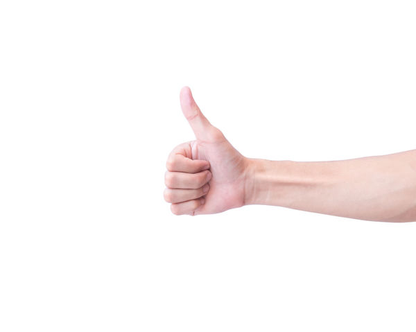 Young man hand thumbs up for good feeling with white background Good Good Morning Human Body Part Human Finger Human Hand Lifestyles People Thumbs Up White Background