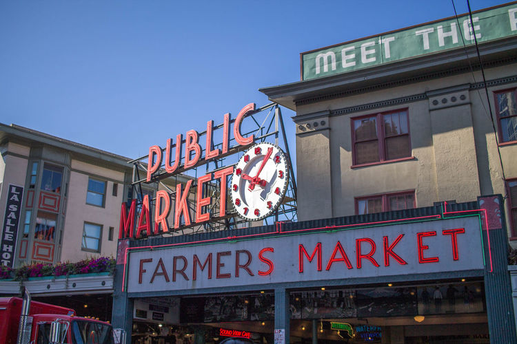 Low Angle View Of Pike Place Market Against Clear Sky