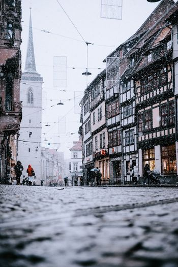 Domplatz / Erfurt Erfurt Building Exterior Built Structure Architecture Snow Winter Cold Temperature Building Nature City Day Residential District No People Outdoors Sky Street Snowing Plant Covering Window