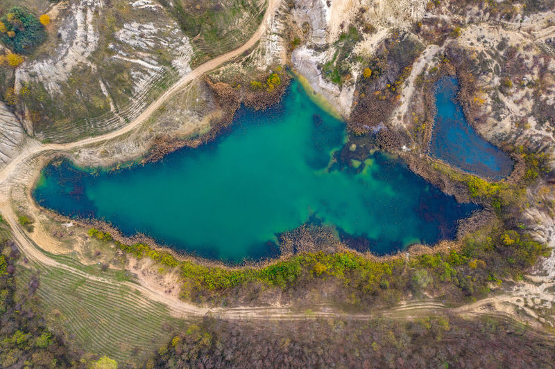 Aerial view of lake amidst landscape