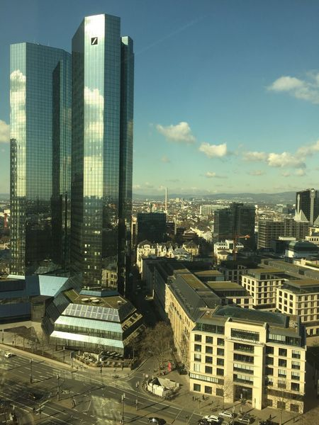 "View on ""Deutsche Bank"" and Frankfurt Westend. Frankfurt Am Main Frankfurt Deutsche Bank WestEnd Skyline Frankfurt Skyline Sunshine Sunny Sunny Day From Above  Beautiful View Mirror Tower"