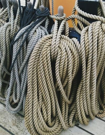 Nautical Vessel Rope Close-up Strength Boat Deck Nautical Equipment Outdoors Day No People Textures And Surfaces Sealife Consistency Shapes Shipyard History