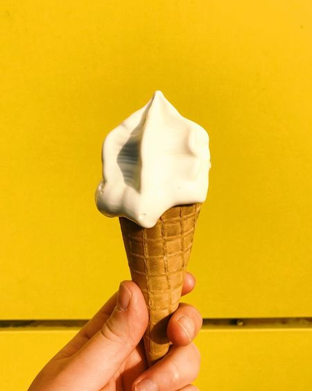 Cropped Hand Holding Ice Cream Cone Against Yellow Wall