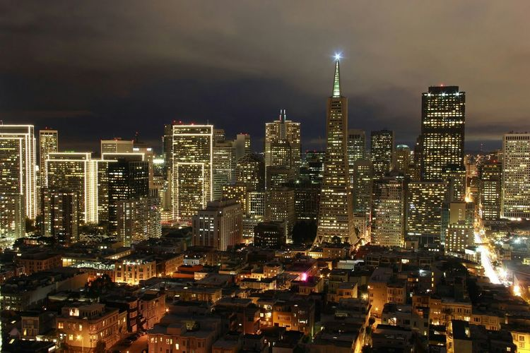 A Skyline of Downtown San Francisco from Coit Tower. Night Photography The Architect - 2016 EyeEm Awards My Favorite Photo