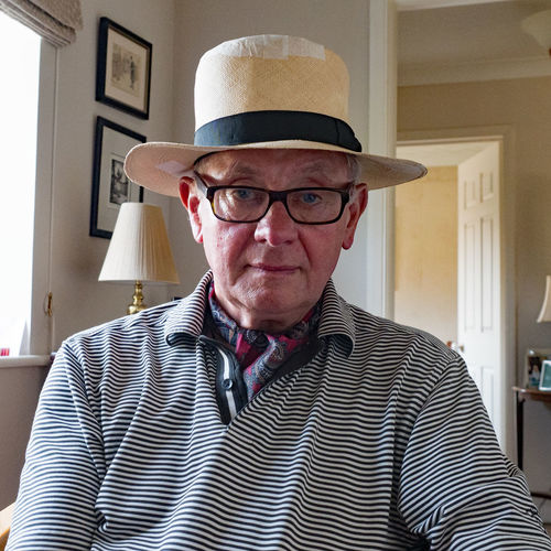 Old Hat Adult Clothing Eyeglasses  Front View Glasses Hat Headshot Indoors  Lifestyles Looking At Camera Males  Mature Adult Mature Men Men One Person Portrait Real People Striped