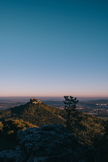 Scenic view of landscape against clear sky at sunset