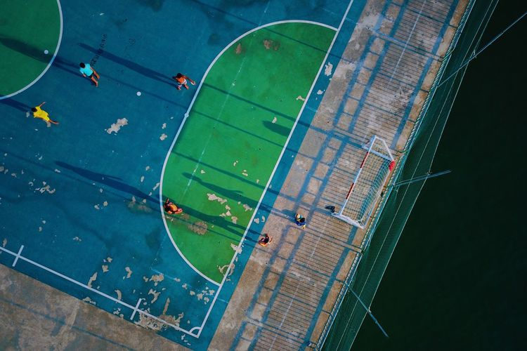 Football Top View Sport High Angle View Aerial View Nature Outdoors Competition Playing Field Field Stadium Team Sport Soccer Architecture Day