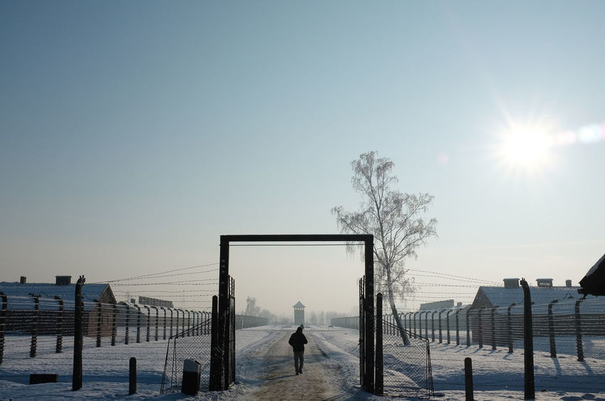 Single man walking through entrance at Auschwitz concentration camp Auschwitz  Arch Clear Sky Cold Temperature Concentration Camp Fence One Person Outdoors Real People Snow Sun Sunlight Winter